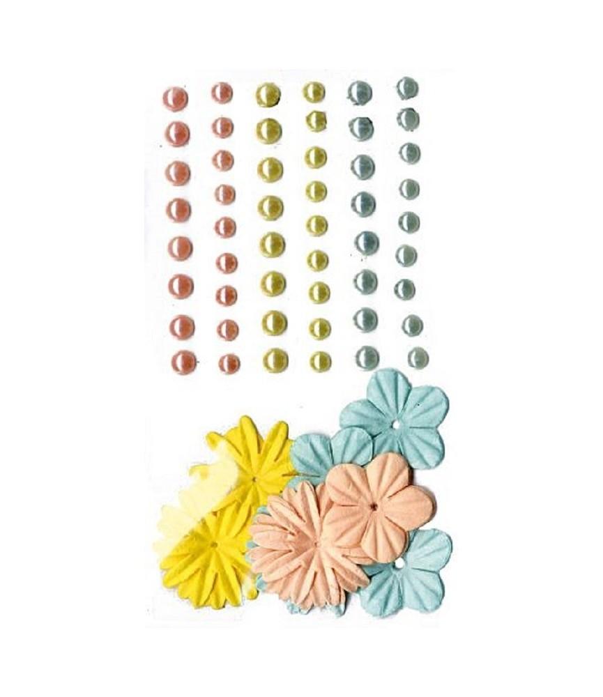 Kit 51 perlas y 24 flores amarillo, verde, salmón