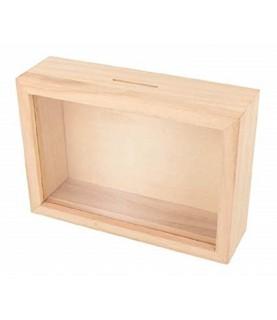Hucha de madera con ventana transparente