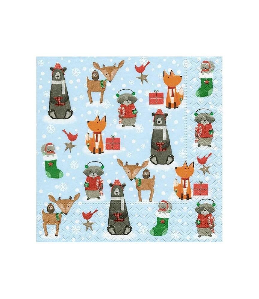 Servilleta animales de navidad