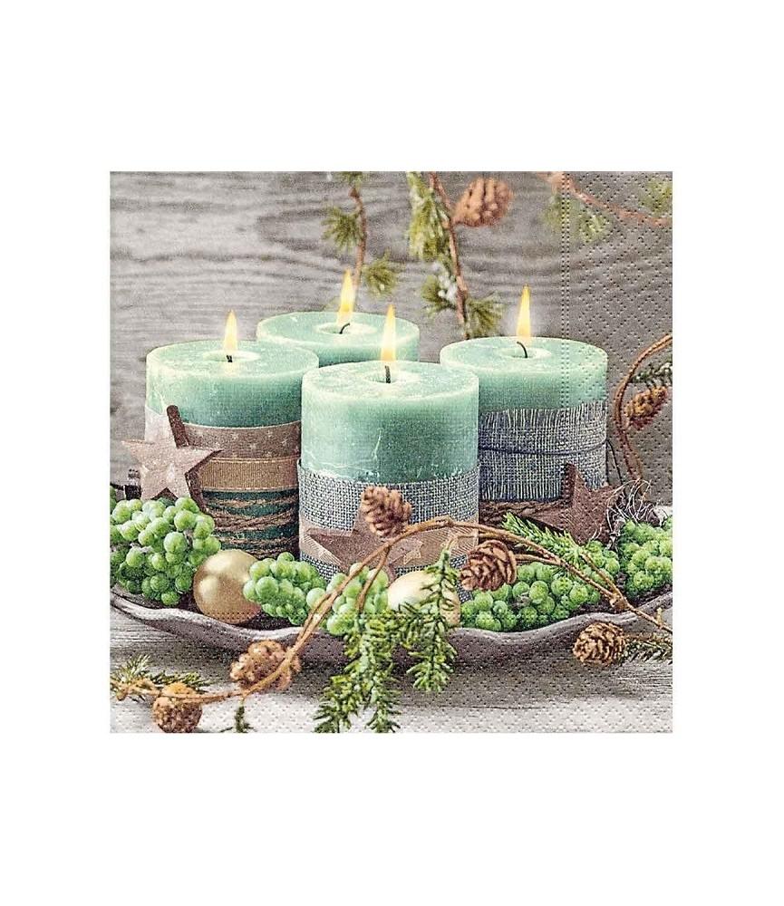Servilleta cuatro velas decoradas