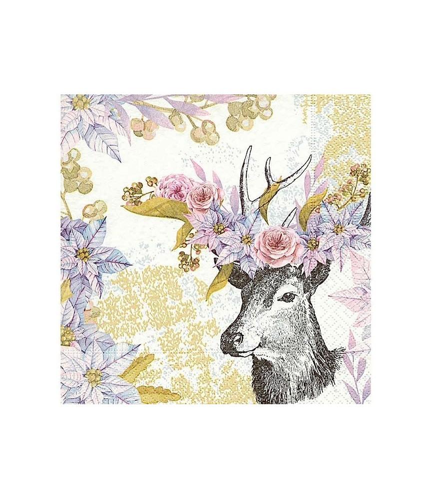 Servilleta ciervo de flores rosas