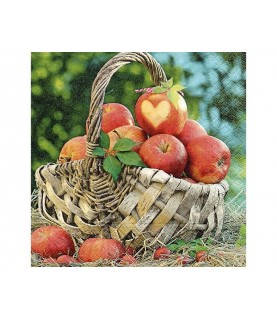 Imagén: Servilleta cesta de manzanas