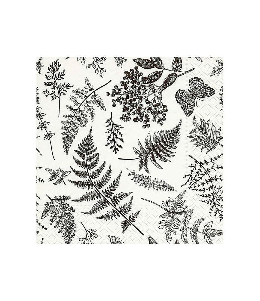 Servilleta hojas blanco y negro