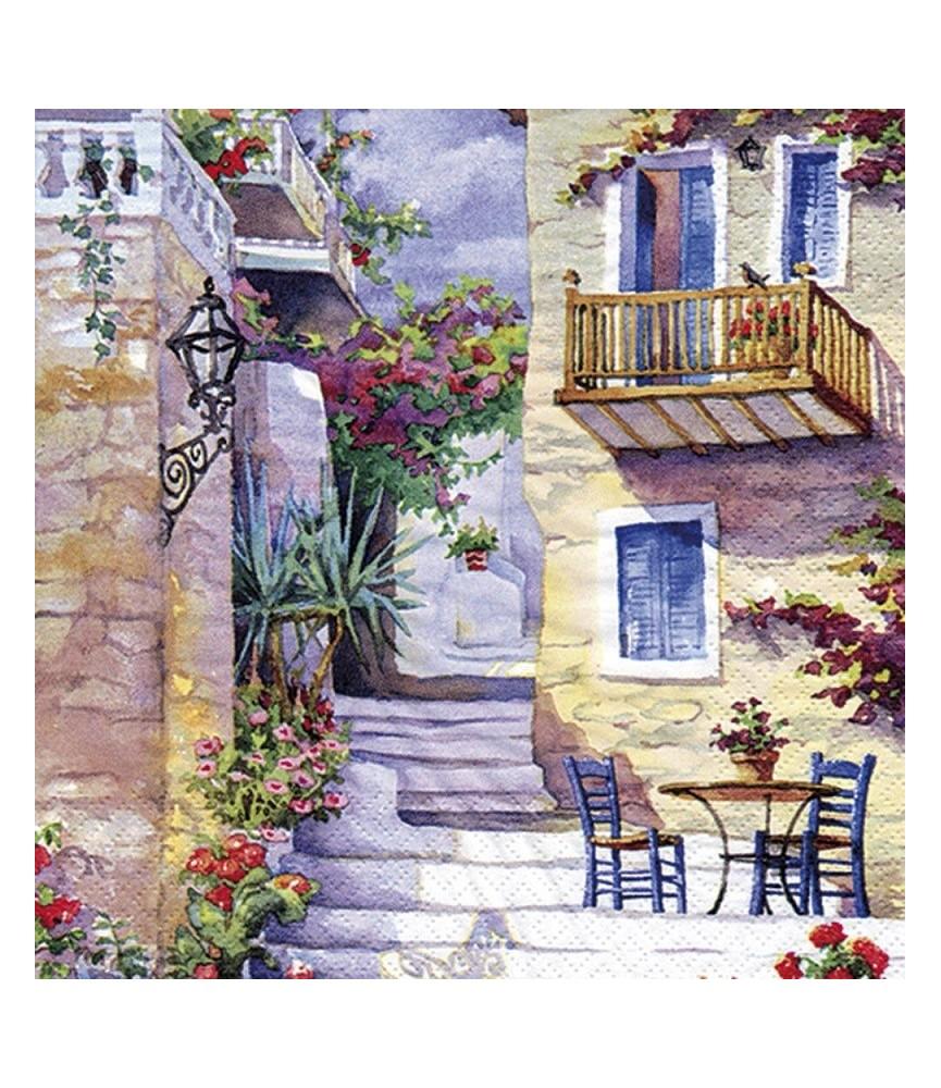 servilleta para decoupage patio de flores