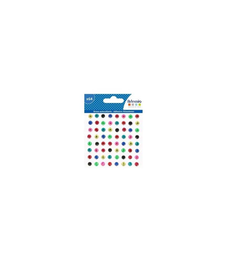 Pack 64 gemas adhesivas de colores