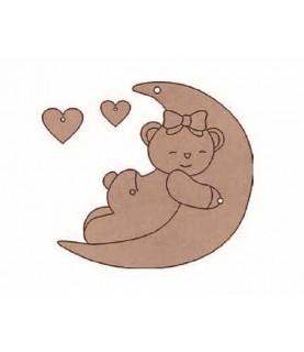 Comprar Silueta de madera infantil osito corazones pequeño de Conideade