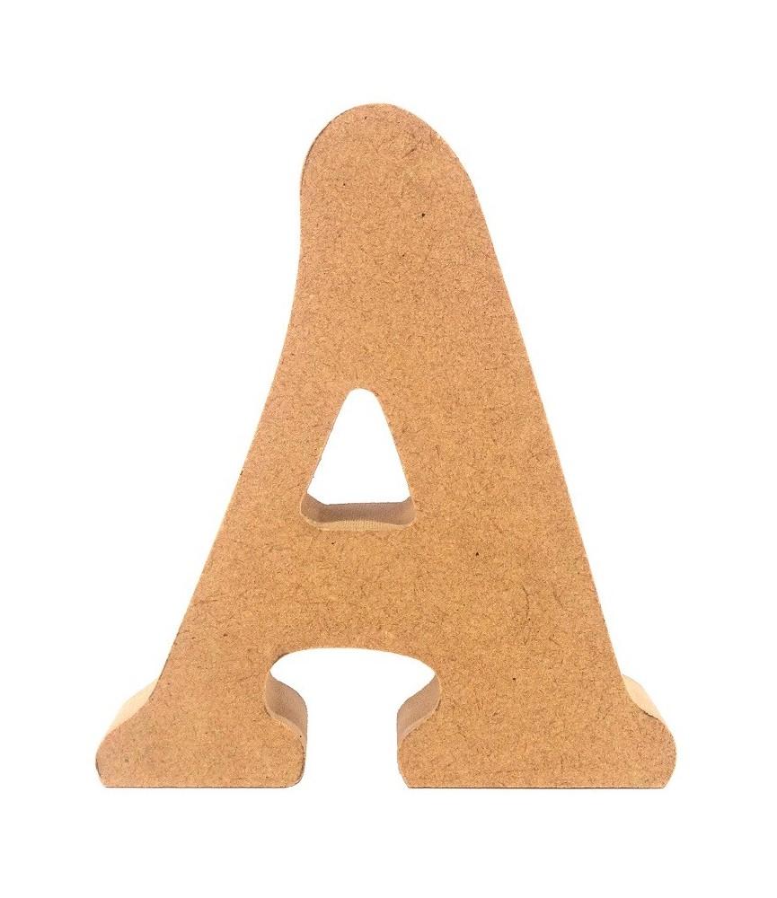 Letra A de madera DM de 20 cm para manualidades