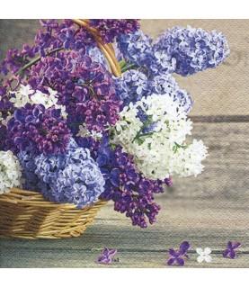 Comprar servilleta para decoupage cesta flores lilas de Conideade