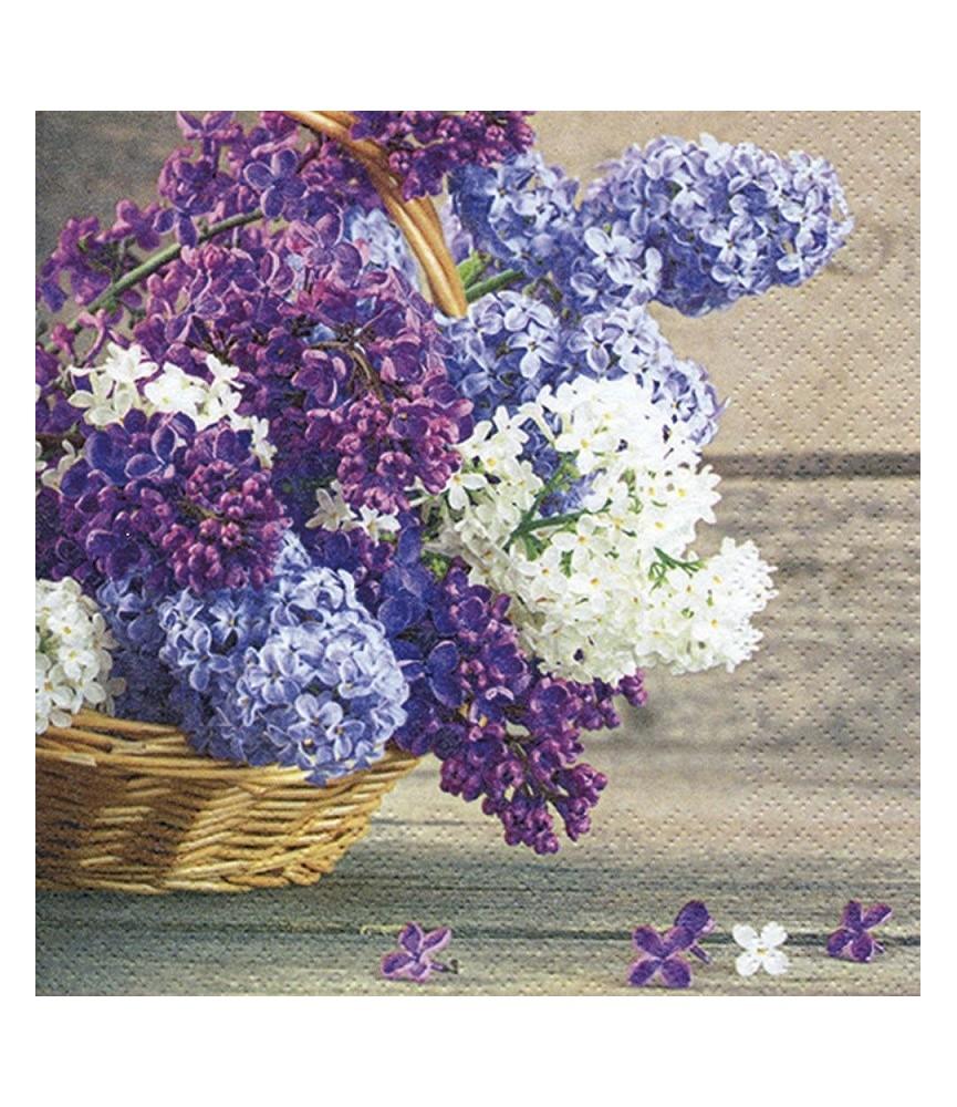 servilleta para decoupage cesta flores lilas