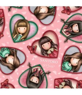 Comprar Tela gorjuss Truly corazones fondo rosa de Conideade
