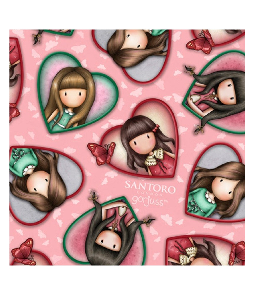 Tela gorjuss Truly corazones fondo rosa