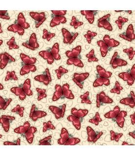 Comprar Tela gorjuss Truly mariposas rojas con fondo beige de Conideade