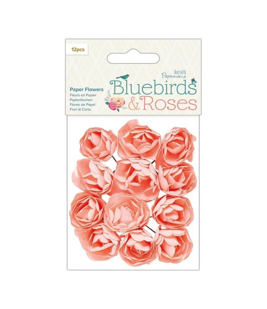 Pack 12 flores de papel color rosa