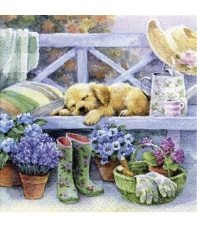 Comprar servilleta para decoupage cachorro jardin