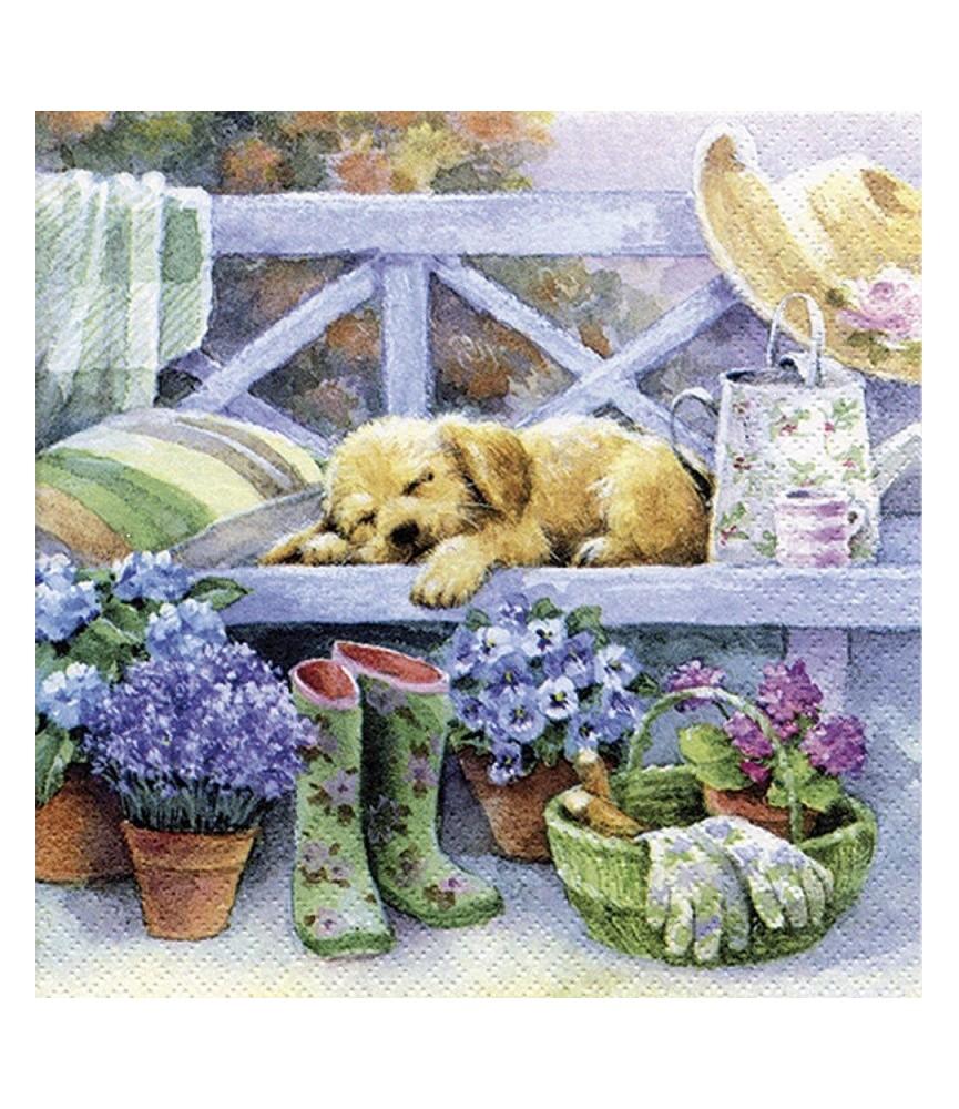 servilleta para decoupage cachorro jardin