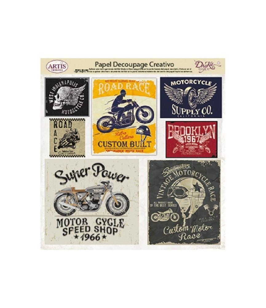 Papel decorativo etiqueta chicas moto