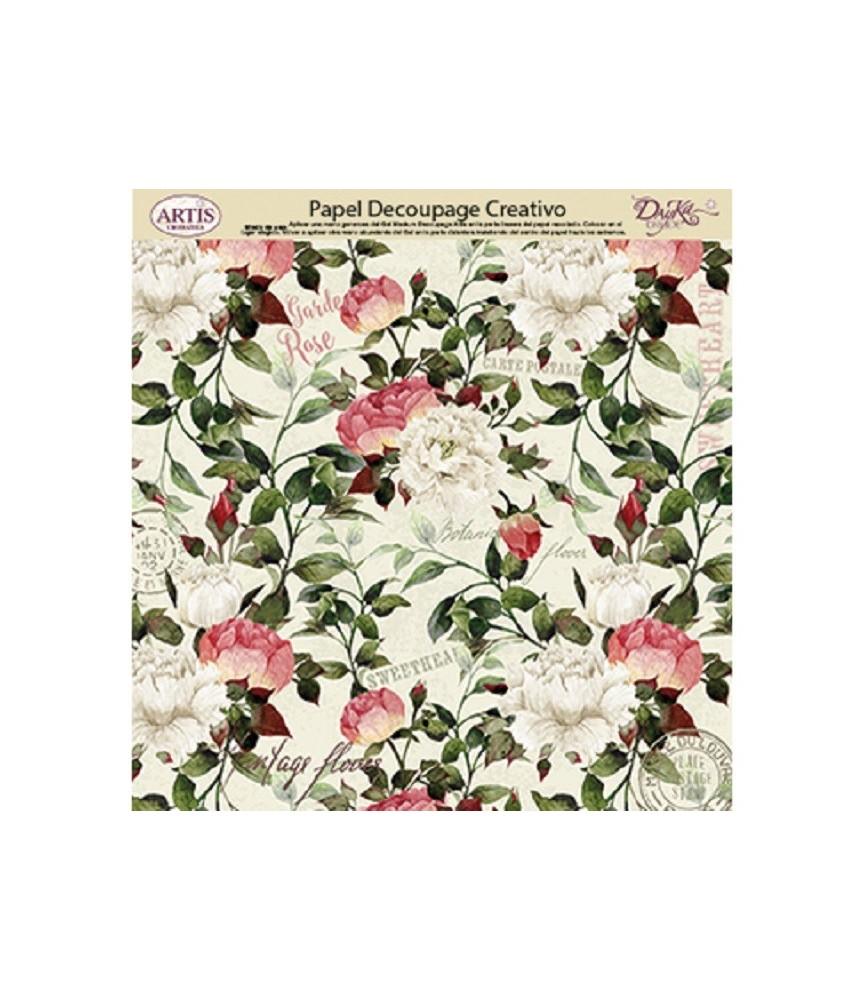 Papel decorativo de flores blancas y rosas