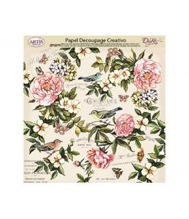 Comprar Papel decorativo de flores pajaros y mariposas de Conideade