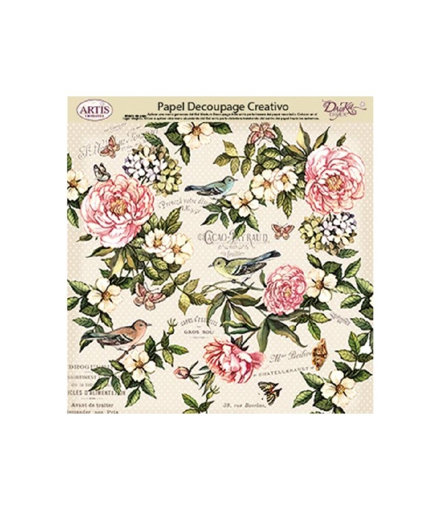 Papel decorativo de flores pajaros y mariposas