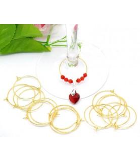 Comprar Pack 10 anillas decorativas para copas oro de Conideade