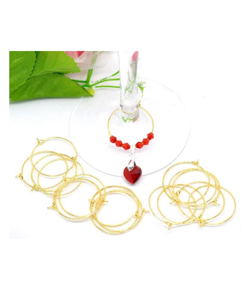 Pack 10 anillas decorativas para copas oro