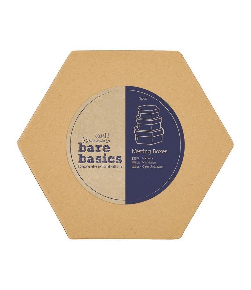Set de 3 Cajas hexagonales de cartón