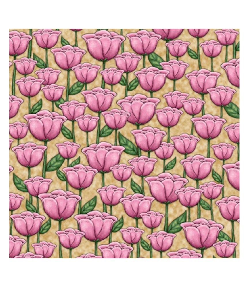 Tela gorjuss Truly amapolas rosas con fondo beige
