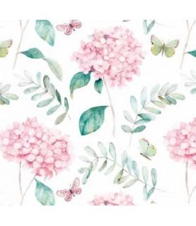 Comprar Tela para decoración Hortensias y mariposas de Conideade