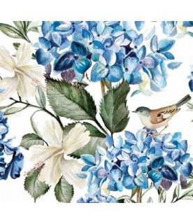 Comprar Tela para decoración Hortensias y pajaros de Conideade