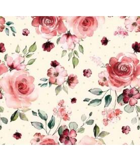 Comprar Tela para decoración flores granate de Conideade