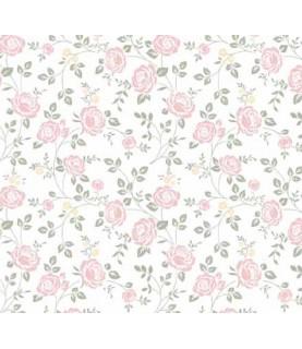 Comprar Tela para decoración flores rosas con hojas verdes de Conideade