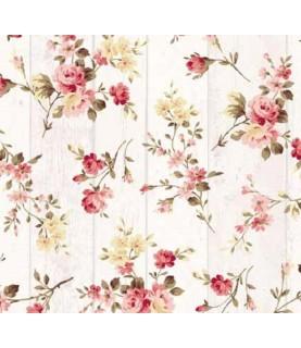 Comprar Tela para decoración tablas de madera con floreadas de Conideade