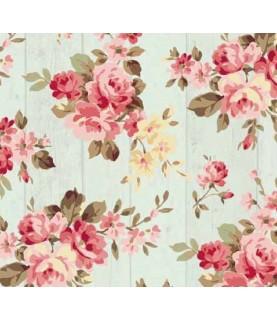 Comprar Tela para decoración tablas de madera aguamarina con flores de Conideade