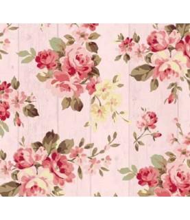 Comprar Tela para decoración tablas de madera rosa con flores de Conideade
