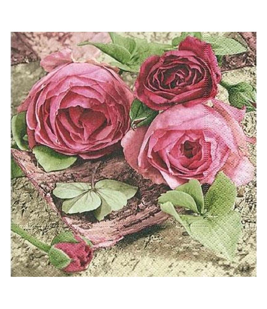 servilleta para decoupage rosas otoño