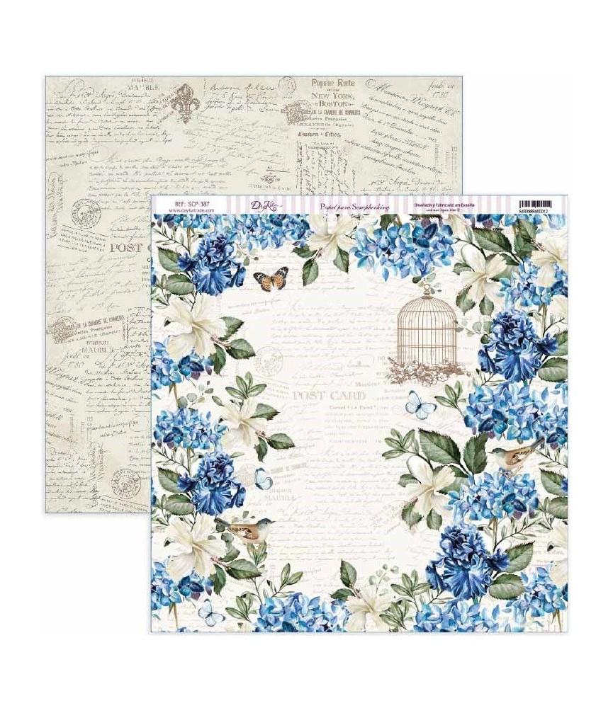 """Papel scrap Nature in Blue """"Hortensias y jaulas"""""""