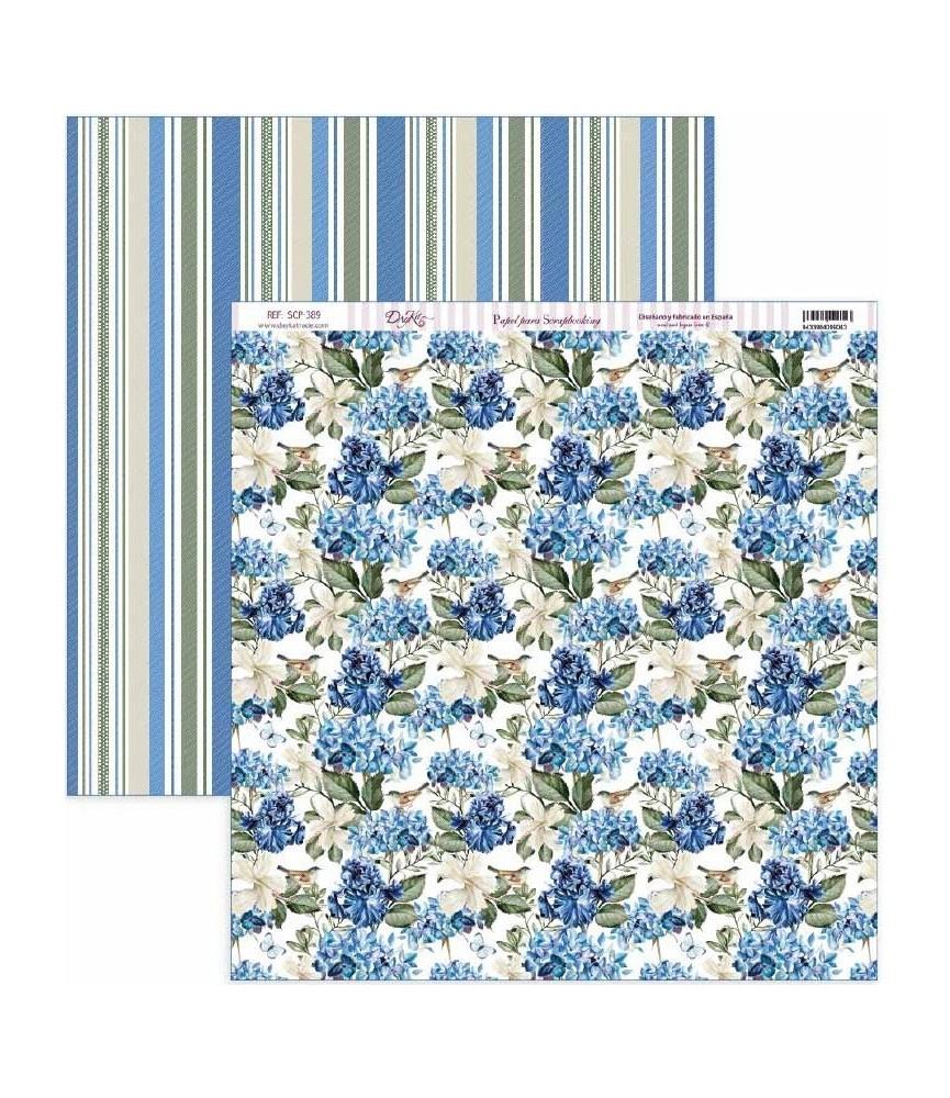"""Papel scrap Nature in Blue """"Hortensias azules"""""""