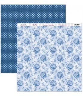 """Comprar Papel scrap Nature in Blue """"Hortensias azules y puntos"""" de Conideade"""