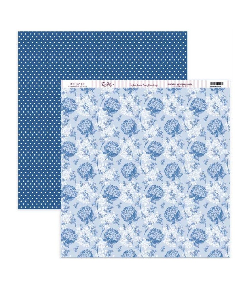 "Papel scrap Nature in Blue ""Hortensias azules y puntos"""
