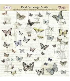 Comprar Papel decorativo para pegar mariposas y jaulas de Conideade