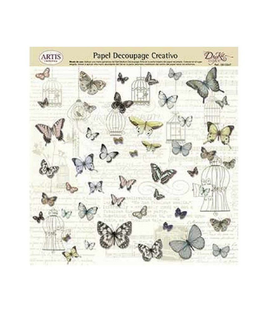 Papel decorativo para pegar mariposas y jaulas