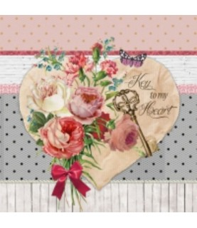 Comprar Servilleta para decoupage corazon de flores de Conideade