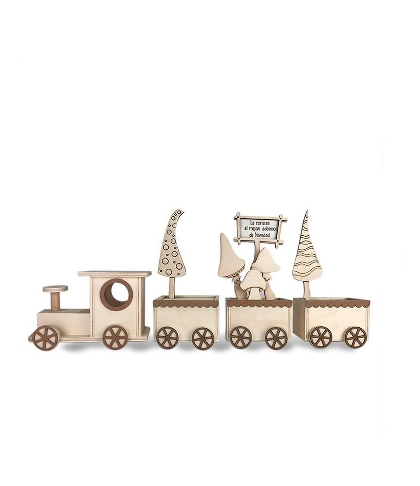 Kit DIY tren de madera con setas