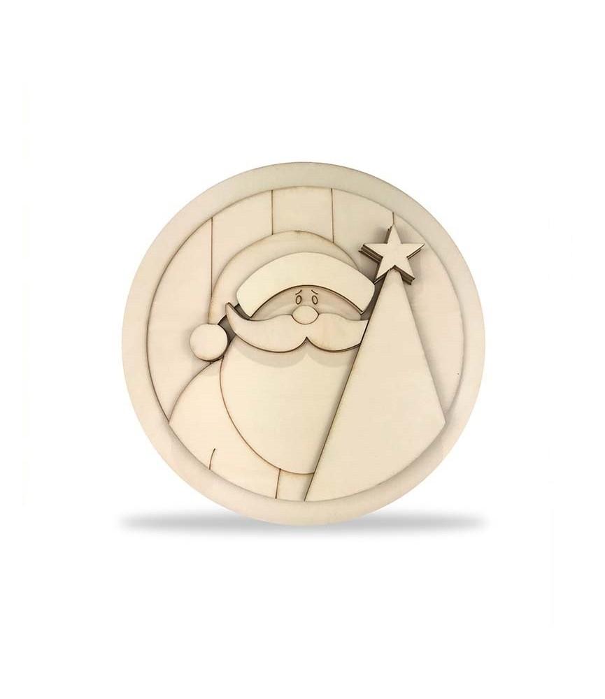 KIT DIY Papa Noel y arbol en circulo 30 cm