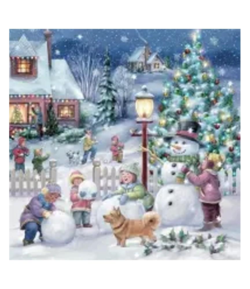 Servilleta para decoupage pueblo navideños nevado