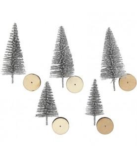 Comprar Set de 5 mini abetos de navidad en plata de Conideade