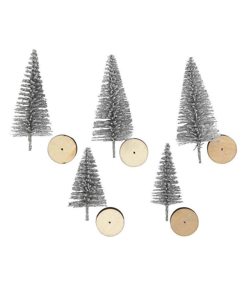 Set de 5 mini abetos de navidad en plata