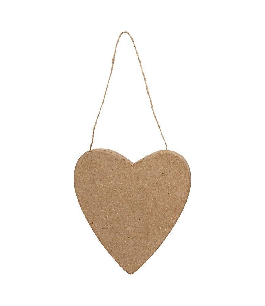 Corazón papel mache con cuerda