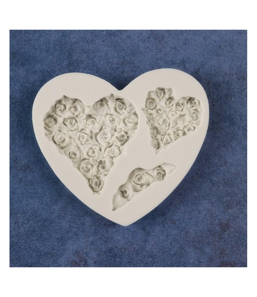 Molde de silicona 2 corazones de rosas