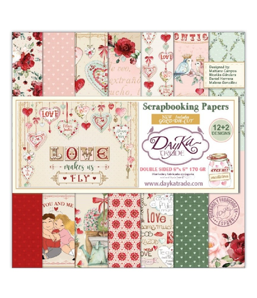 """Pack 14 papeles scrap """"Love Makes us Fly"""" 20x20cm"""